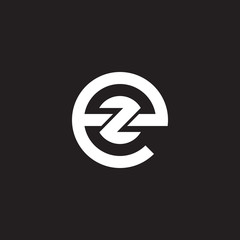 Initial lowercase letter logo ez, ze, z inside e, monogram rounded shape, white color on black background