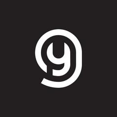 Initial lowercase letter logo gy, yg, y inside g, monogram rounded shape, white color on black background