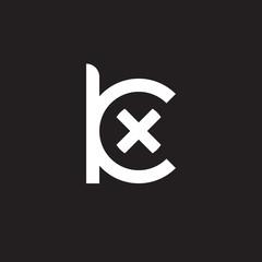 Initial lowercase letter logo kx, xk, x inside k, monogram rounded shape, white color on black background