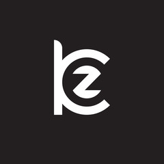 Initial lowercase letter logo kz, zk, z inside k, monogram rounded shape, white color on black background