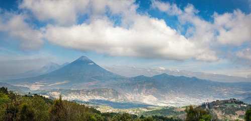 Panoramic vista of the volcanic mountain range near Antigua in Guatemala