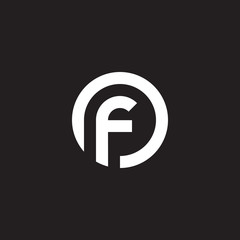 Initial lowercase letter logo of, fo, f inside o, monogram rounded shape, white color on black background