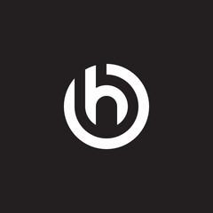 Initial lowercase letter logo oh, ho, h inside o, monogram rounded shape, white color on black background