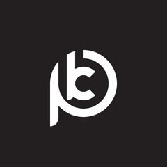 Initial lowercase letter logo pk, kp, k inside p, monogram rounded shape, white color on black background