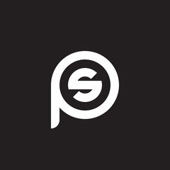 Initial lowercase letter logo ps, sp, s inside p, monogram rounded shape, white color on black background