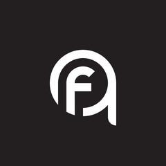 Initial lowercase letter logo qf, fq, f inside q, monogram rounded shape, white color on black background