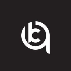 Initial lowercase letter logo qk, kq, k inside q, monogram rounded shape, white color on black background