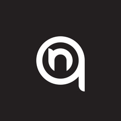 Initial lowercase letter logo qn, nq, n inside q, monogram rounded shape, white color on black background
