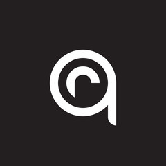 Initial lowercase letter logo qr, rq, r inside q, monogram rounded shape, white color on black background