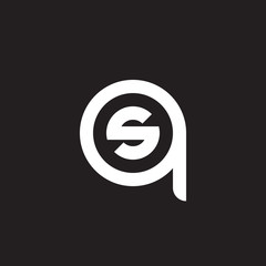 Initial lowercase letter logo qs, sq, s inside q, monogram rounded shape, white color on black background