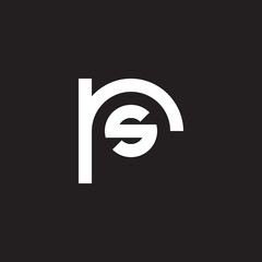 Initial lowercase letter logo rs, sr, s inside r, monogram rounded shape, white color on black background