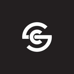 Initial lowercase letter logo sc, cs, c inside s, monogram rounded shape, white color on black background