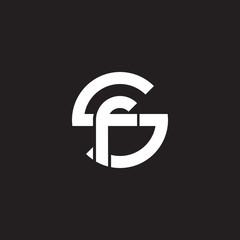 Initial lowercase letter logo sf, fs, f inside s, monogram rounded shape, white color on black background