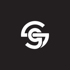 Initial lowercase letter logo sg, gs, g inside s, monogram rounded shape, white color on black background
