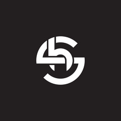 Initial lowercase letter logo sh, hs, h inside s, monogram rounded shape, white color on black background