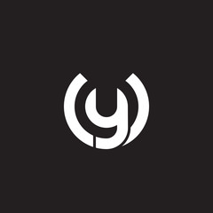 Initial lowercase letter logo uy, yu, y inside u, monogram rounded shape, white color on black background