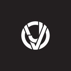 Initial lowercase letter logo vj, jv, j inside v, monogram rounded shape, white color on black background
