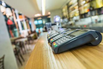 Modern restaurant interior, blured background