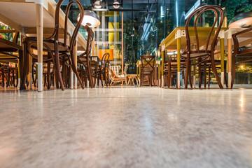 Concrete floor in  modern urban restaurant
