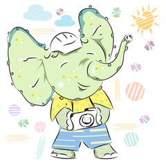 A cute little cartoon elephant with a camera. Summer baby print. Can be used for baby t-shirt print, fashion print design, kids wear, baby shower celebration greeting and invitation card.