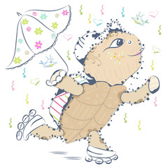 A sweet little cartoon tortoise with an umbrella, rolls on rollers. Summer baby print. Can be used for baby t-shirt print, fashion print design, kids wear.