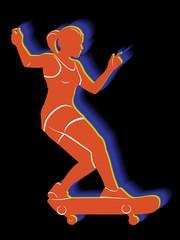 illustration of skateboarder, vector draw
