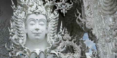 head of statue in white temple, chiang rai, Thailand