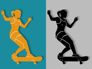illustration of skateboarder, vector draw