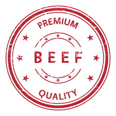 Beef and premium quality stamp. Beef rubber stamp. Vector Beef stamp. Beef Grunge stamp. Roter stempel.