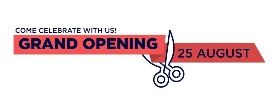 Grand opening red ribbon cut with scissors cutting vector isolated icon