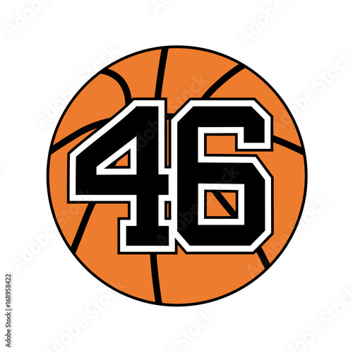 Ball Of Basketball Symbol With Number 46 Stock Image And Royalty