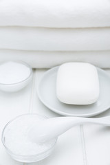 All White Spa and Bath Image - Towels, Soap, Bath Salt and Cosmetic Cream