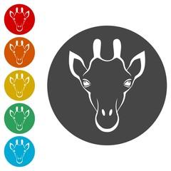 Giraffe face, flat animal face icons set