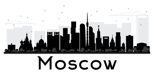 Moscow City skyline black and white silhouette.