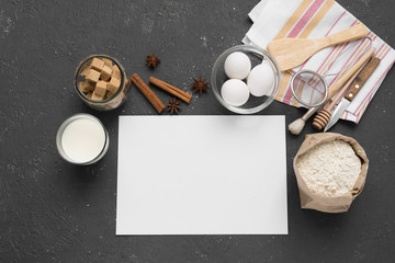 A blank page to record recipes and products for baking, concept.