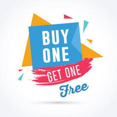 Buy one get one free. Discount, sale and promotion banners