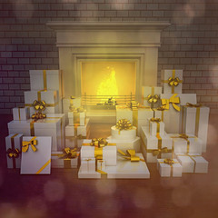 Modern fireplace at night with presents on wooden floor.