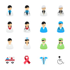 Doctor and Nurse Healthcare Professionals Icons. Set of Health and Medical Icons. Vector Illustration Color Icons Flat Style.