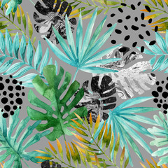 Acrylic Prints Graphic Prints Hand drawn abstract tropical summer background