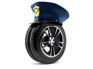 Police hat with car wheel