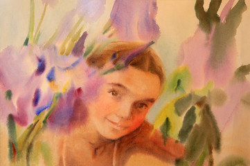 Watercolor portrait of beautiful girl with flowers