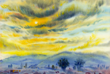 Painting colorful of sunset in cloud  and emotion