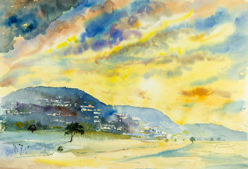 Watercolor landscape painting colorful of mountain and emotion