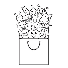 Halloween funny monsters in shopping bag. Doodle style. Vector illustration.