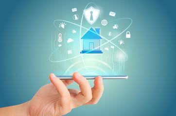 Smart phone remote for smart home hologram technology concept idea.
