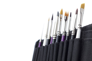 Set of professional manicure brushes