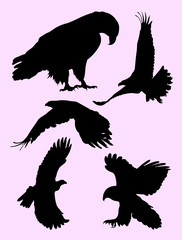 Flying eagle silhouette. Good use for symbol, logo, web icon, mascot, sign, or any design you want.