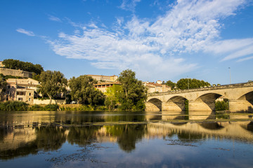 Views of the French town of Beziers with one of the bridges that cross the river Orb