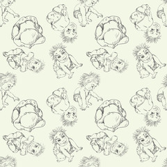 Seamless pattern of a sketch of an infant different pose of children 3