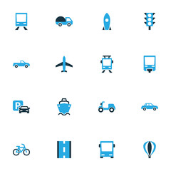 Transport Colorful Icons Set. Collection Of Tanker, Parking, Autobus And Other Elements. Also Includes Symbols Such As Driveway, Auto, Train.